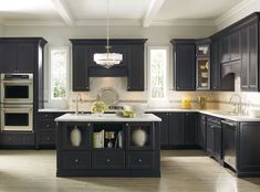 black kitchen island with drawers