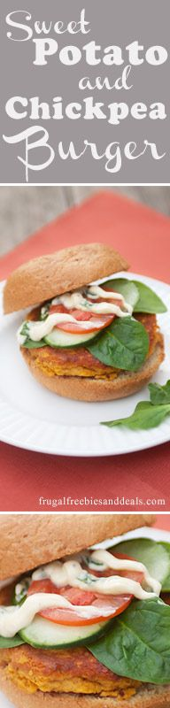 #SweetPotato and #Chickpea #Burgers with Curry Basil Aioli