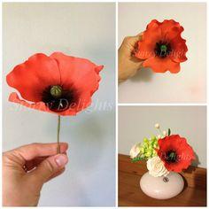 How to make a gum paste poppy flower gum paste flower and cake poppy flower tutorial mightylinksfo