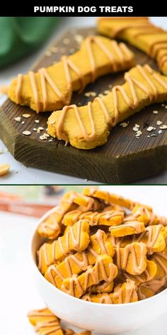 These easy pumpkin dog treats are a great way to spoil your best friend. Homemade dog treats don't get any easier than this delicious pumpkin and peanut butter treat recipe. Yummy and safe, these dog Dog Safe Cake Recipe, Dog Cake Recipes, Easy Dog Treat Recipes, Dog Biscuit Recipes, Healthy Dog Treats, Dog Food Recipes, Banana Dog Treat Recipe, Recipes Dinner, Homemade Dog Cookies