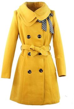 Double Breasted Coat Outerwear Jacket in Yellow – Lily & Co.