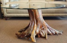 Solid Tree Trunk Glass Coffee Table   The Best Wood Furniture