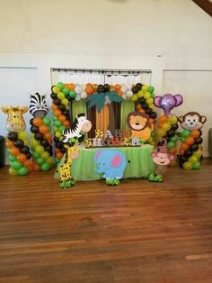 62 Ideas Baby Shower Decorations For Boys Jungle Safari Theme - Zoo - Baby Shower Safari Decorations, Baby Shower Decorations For Boys, Baby Shower Centerpieces, Elephant Decorations, Baby Decor, Birthday Decorations, Deco Baby Shower, Shower Bebe, Baby Boy Shower