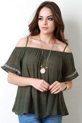 05321be47d7cb2 Crochet Off-the-Shoulder Top
