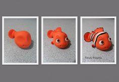 Here is how to to make fondant Nemo. Fimo Polymer Clay, Polymer Clay Figures, Polymer Clay Projects, Diy Clay, Clay Crafts, Polymer Clay Disney, Fondant Animals, Clay Animals, Nemo Cake