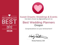 Our 2012 Best Wedding Planner Award in Oregon from @mywedding .com