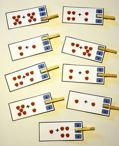 The Adding Up Apples Clothespin Task is a math activity. In this task, students solve a simple addition problem by adding two sets of apples together. Students show their answer by clipping one clothespin per card to indicate their answer.