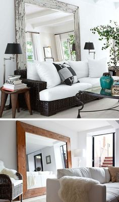 Use large mirrors to create the illusion of a larger room! 29 Sneaky Tips For Small Space Living Living Room Mirrors, Small Living Rooms, Home Living Room, Apartment Living, Living Room Decor, Living Spaces, Decor For Small Spaces, Small Space Decorating, Furniture For Small Apartments