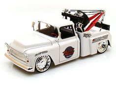 Jada 1/24 Scale Set Of 2 1955 Chevy Stepside Tow Truck White & Black Diecast Car Model 96401
