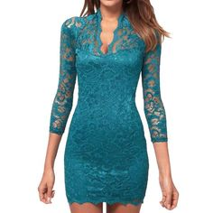 Elegant Womens Sexy See-through Deep V Neck Mini Slim Lace Dress Cocktail Party