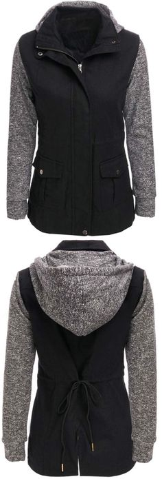 Free shipping&easy return! This splicing coat is detailed with hooded design, zipper closure&side pockets! Show some different style with Cupshe.com