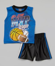 Loving this Blue 'MVP' Sleeveless Top & Shorts - Infant, Toddler & Boys on #zulily! #zulilyfinds