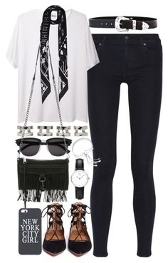 Outfit for meeting up with friends by ferned on Polyvore featuring moda, T By Alexander Wang, Paige Denim, Aquazzura, Rebecca Minkoff, Maison Margiela, Daniel Wellington, Monica Vinader, Rockins and Yves Saint Laurent