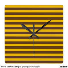 Brown and Gold Stripes Square Wall Clocks
