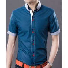 $11.59 Fashion Style Lapel Personality Button Fly Cuffs Splicing Slimming Short Sleeves Men's Polyester Shirt Fashion Men, Fashion Outfits, Only Shirt, Cheap Shirts, Summer Shirts, Classy Dress, Men's Collection, Men's Style, Personality