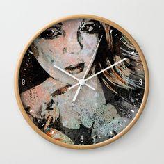 """""""Ruined Our Everything"""" • Wall clock. Graffiti portrait painting, delicate girl with flowers. • Orologio da parete. Ritratto dipinto in stile graffiti, delicato volto di ragazza con fiori • Street art • Home decor • Arredo • Decorazione per la casa • Living room."""