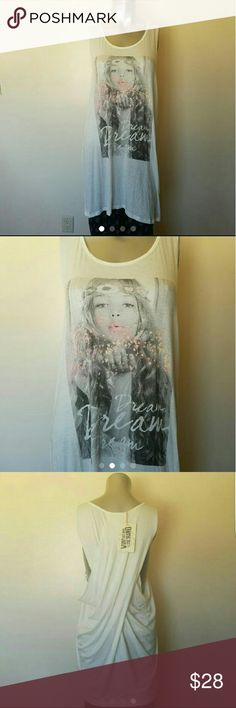 Dream Top New white and grey color. Material: Rayon and Spandex. Twist back, long style. THE CLAS-SIC Tops Tank Tops