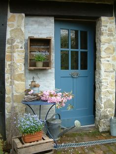 The little house with the blue door Cottage Front Doors, Cottage Door, Cottage Living, Cottage Style, Cottage Exterior, French Cottage, Shed Doors, Entrance Doors, Porch Doors