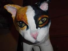 a cat sitting made out of paper mache clay - Yahoo Image Search Results