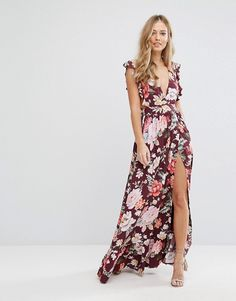 Majorelle Sweet Pea Burgundy Floral Maxi Dress asos