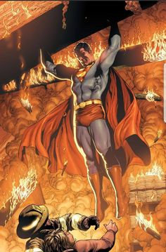 Superman Saves Firefighters in Superman: Secret Origin - Gary Frank Superman Comic, Superman Artwork, Batman, Superman Stuff, Arte Dc Comics, Dc Comics Superheroes, Dc Comics Characters, Dc Comics Art, Comic Book Covers
