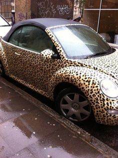 Oh my gosh!!! A cheetah print Bug!! Ahhhh I would kill for one of these!      ... i can think of a couple people that would kill for this car ;) kelly you're next car...lol