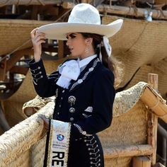 Image may contain: 1 person, hat Mexican Costume, Mexican Outfit, Mexican Dresses, Charro Outfit, Charro Dresses, Mexican Rodeo, Mexican Mariachi, Vestido Charro, Sexy Cowgirl Outfits