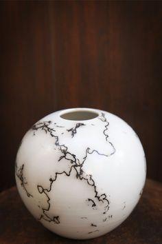 Horsehair Pottery - Sphere-- Horse hair technique is quite impressive.
