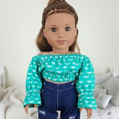 18 inch doll coral and teal peasant blouse with white triangle print.Jeans and doll not included.Teal peasant blouse is a tad bit more green than picture shows. American Girl Doll Gymnastics, All American Girl Dolls, Ropa American Girl, American Doll Clothes, Ag Doll Hairstyles, American Girl Bedrooms, Baby Doll Strollers, Teal Shirt, America Girl