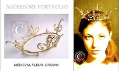 MEDIEVAL FLEUR ~ A unique Chantal Mallett design ~ Regal, gold crown embellished with pearls and tiny crystals. .