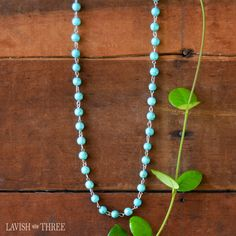 """42"""" ~ A stream of turquoise-like beads comprise this necklace. May be worn alone or doubled and makes the perfect accent when paired with other pieces in our Strength & Shield Collection."""