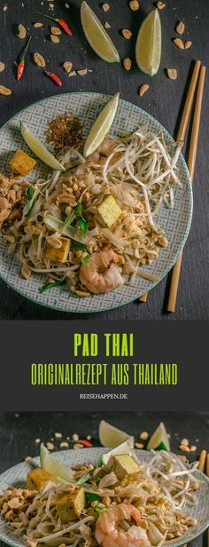Original Thai Pad Thai with tofu, shrimp and fresh vegetables based on a recipe from Bangkok. Phat Thai is arguably the most famous dish from Thailand. Here you will find the original recipe and tips on how the Thai noodle dish works in any case. Thai Recipes, Healthy Chicken Recipes, Asian Recipes, Vegetarian Recipes, Vegan Thai Green Curry, Vegan Pad Thai, Noodles Pad Thai, Pad Thai Receta, Sweet Potato Noodles