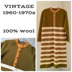 "VTG 1970s Mad Men wool day dress Excellent vintage condition!!! 100% wool sweater dress in 1970 colors - avocado green, harvest gold and tan. Hard to find larger size in a vintage piece. Sweater knit adds extra give. Fits a good size 12. Made in Hong Kong, wool is in excellent condition. Straight shift style cut. Bust, waist and hips: 38"" unstretched. Vintage Dresses Midi"