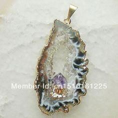 Geode agate slice Druzy Crystal Pendant Gold and silver Gem stone drusy pendants Free shipping $29.20  Unique jewelry pendant, more from sgjgems.com