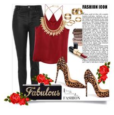 """""""Leopard print & Red"""" by christinacastro830 ❤ liked on Polyvore featuring Topshop, Edie Parker, Christian Louboutin, Urban Decay, Ultimo, Apt. 9 and Jules Smith"""
