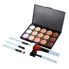 Chinatera 15 Colors Face Makeup Contour Concealer Camouflage Palette  5Pcs Blue Powder Blush Eye Foundation Brushes ** Check out the image by visiting the link. (Note:Amazon affiliate link)