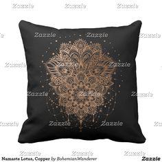Namaste Lotus, Copper Throw Pillow