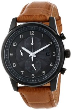 Eco-drive, fueled by light Black ion plated stainless steel case with camel colored leather strap 1/5 second chronograph measures up to 60 minutes Mineral glass crystal Water-resistant to 100 M (330 feet)