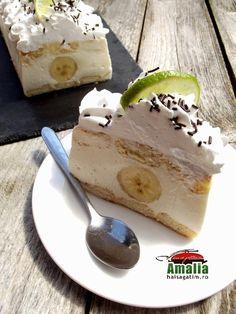 tort fara coacere cu iaurt si mascarpone, deserturi fara coacere, mascarpone, iaurt, deserturi de vara Ricotta, Cheesecake, Pudding, Desserts, Food, Banana, Mascarpone, Tailgate Desserts, Deserts
