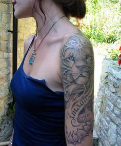 FEMALE LION WITH BABY LIONS TATOO ON SHOULDER - Google Search
