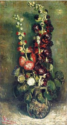 Vase With Hollyhocks Vincent Van Gogh Reproduction | 1st Art Gallery