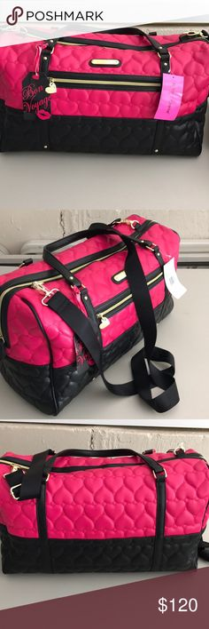 Betsey Johnson tote/luggage This is a beautiful brand new never used tags on Betsey Johnson weekend tote black and pink with gold zippers comes with two handles and a adjustable strap very spacious inside black with pink roses                              Offers accepted  Betsey Johnson Bags Travel Bags