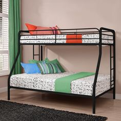 """$181 - Found it at Wayfair - White Maryanne Twin Over Full Bunk Bed up to 650 lbs total ; 6"""" mattress on top 10"""" bottom"""