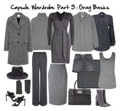 """Capsule Wardrobe Part 5 : Gray Basics"" by lynelab on Polyvore featuring Carven tweed coat, DVF dress, Equipment cashmere sweater, chambray shirt and silk blouse, Dolce & Gabbana trousers, RED Valentino pencil skirt, Calvin Klein shorts, Sofia cashmere tank top, Stella McCartney hat, Lanvin gloves, Brunello Cucinelli sandals, Mulberry Bayswater bag, Hermès scarf, and Gianvito Rossi suede ankle boots."