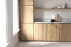 Jalavaviilu ja carrara-marmori luovat rauhallisen ja ajattoman tunnelman keittiöön. Carrara, Bathroom Medicine Cabinet, Kitchens, Touch, Kitchen, Cuisine, Cucina