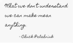 What we don't understand we can make mean anything. - Chuck Palahniuk