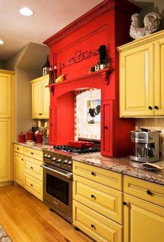 Decorating with dark red kitchen cabinets @Ricki Wells Holliman-Ryan  this looks like you