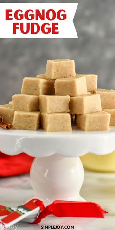 This Eggnog Fudge is so easy and melts in your mouth. You will want to make it every year for the holidays. Delicious Fudge Recipe, Fudge Recipes, Candy Recipes, Snack Recipes, Yummy Recipes, Dessert Recipes, Holiday Snacks, Christmas Desserts, Holiday Recipes