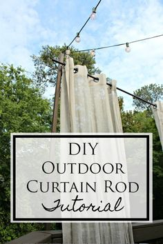 DIY Outdoor Curtain Rod- This tutorial shows you how to hang a privacy curtain for your deck- even if you don't have a roof! outdoor curtains DIY Floating Outdoor Curtain Rod- Creating a Privacy Curtains for Deck Deck Curtains, Outdoor Curtains For Patio, Privacy Curtains, Privacy Screen Outdoor, Privacy Walls, Backyard Privacy, Garden Privacy, Mosquito Curtains, Deck Privacy Screens