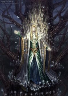 Thranduil was the only son of Oropher, the King of the Woodland Realm. He was born sometime during the late First Age in Doriath before its fall. At the beginning of the Second Age, the Sindar travelled east and Oropher eventually founded Greenwood the Great. (By Jianjiagu @jianjiagu.deviantart.com)